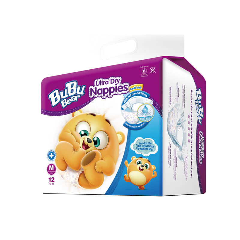 Ultra Dry Nappies 12pads M 5-11kg Baby Unisex BUBUBEAR